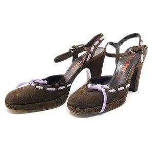 Vintage Miu Miu Suede Platform Heel Pumps 34.5/4.5